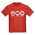 Peace love Canada Kids Dark T-Shirt