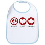 Peace love Canada Bib