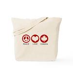 Peace love Canada Tote Bag