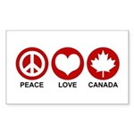 Peace love Canada Rectangle Sticker