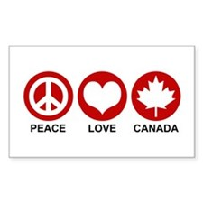 Peace love Canada Rectangle Decal