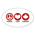 Peace love Canada Oval Sticker