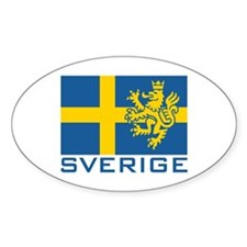 Sverige Flag Oval Stickers