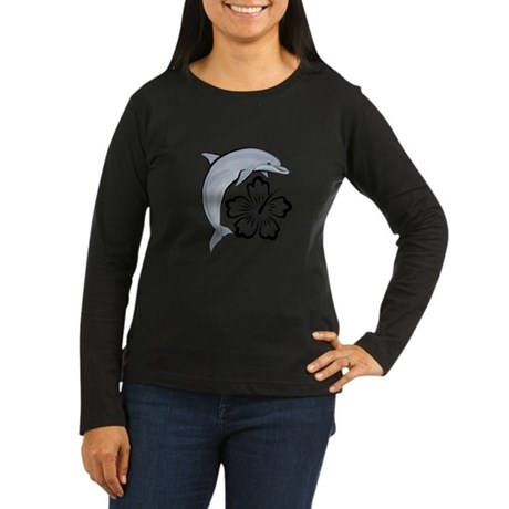 Dolphin Hibiscus Women's Long Sleeve Dark T-Shirt