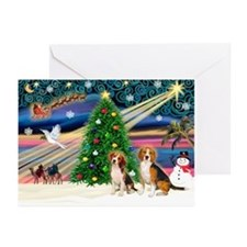 Xmas Magic/2 Beagles Greeting Cards (Pk of 20)