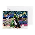 XmasSunrise/Bernese Mt Dog Greeting Cards (Pk of 1