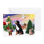 XmasSunrise/Bernese Mt Dog Greeting Cards (Pk of 2