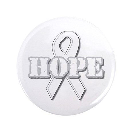 "White Hope Ribbon 3.5"" Button (100 pack)"