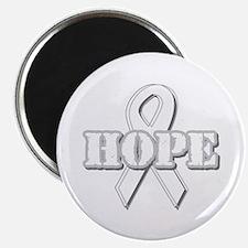 """White Hope Ribbon 2.25"""" Magnet (100 pack)"""