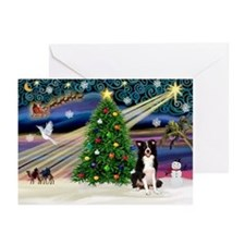 XmasSigns/2 Border Collies Greeting Cards (Pk of 1