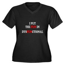 FUN IN DYSFUNCTIONAL Women's Plus Size V-Neck Dark