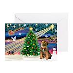 Santa's Border Terrier Greeting Cards (Pk of 10)