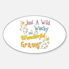 Wild Wacky Granny Oval Bumper Stickers