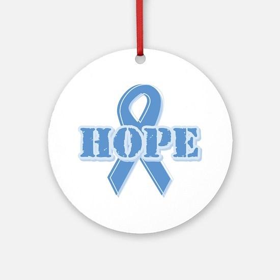 Lt Blue Hope Ribbon Ornament (Round)