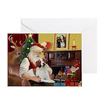 Santa & His Brittany Greeting Card
