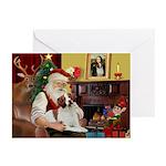 Santa & His Brittany Greeting Cards (Pk of 20)