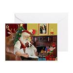 Santa & His Brittany Greeting Cards (Pk of 10)