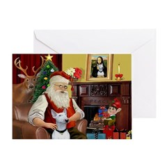 Santa & His Bull Terrier Greeting Card
