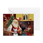 Santa & His Bull Terrier Greeting Cards (Pk of 10)
