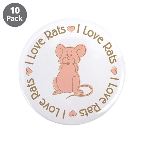 """Sweet I Love Heart Rats 3.5"""" Button (10 pack)"""