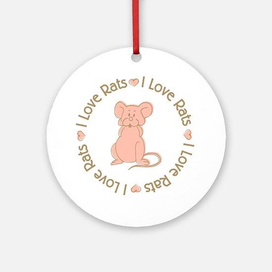 Sweet I Love Heart Rats Ornament (Round)