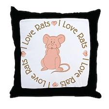 Sweet I Love Heart Rats Throw Pillow