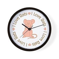 Sweet I Love Heart Rats Wall Clock