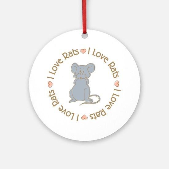 I Love Rats Grey Ornament (Round)