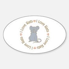 I Love Rats Grey Oval Decal