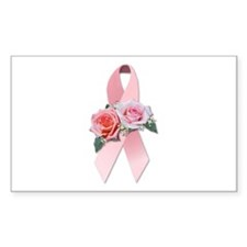 Breast Cancer Ribbon & Roses Rectangle Decal