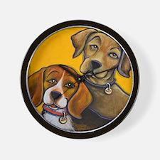 Beagle Ridgeback Hounds Wall Clock