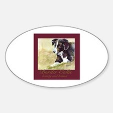 Border Collie Beauty & Brains Oval Decal
