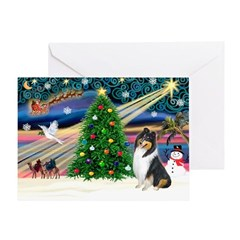 Xmas Magic & Collie Greeting Card