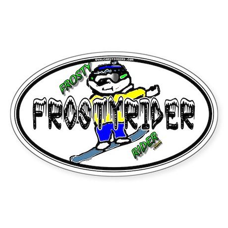 Frosty Rider Oval 1 White Oval Sticker