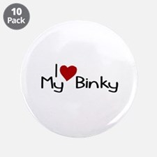 """I Love My Binky (Pacifier) 3.5"""" Button (10 pack)"""