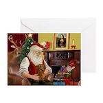 Santa's Dachshund (brn) Greeting Cards (Pk of 10)