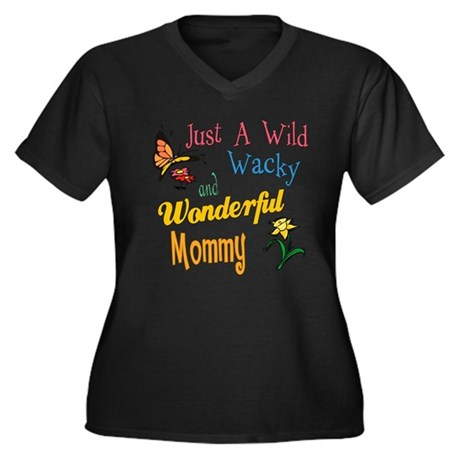 Wild Wacky Mommy Women's Plus Size V-Neck Dark T-S