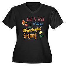 Wild Wacky Grammy Women's Plus Size V-Neck Dark T-