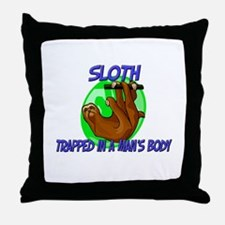 Sloth Trapped In A Man's Body Throw Pillow