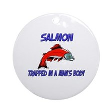 Salmon Trapped In A Man's Body Ornament (Round)