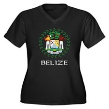 Belize Coat of Arms Women's Plus Size V-Neck Dark