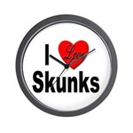 I Love Skunks for Skunk Lovers Wall Clock