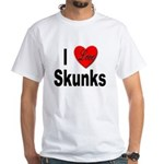 I Love Skunks (Front) White T-Shirt