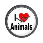 I Love Animals for Animal Lovers Wall Clock