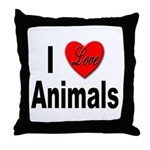 I Love Animals for Animal Lovers Throw Pillow