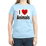 I Love Animals (Front) Women's Pink T-Shirt