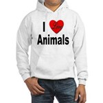 I Love Animals (Front) Hooded Sweatshirt