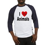 I Love Animals (Front) Baseball Jersey
