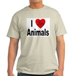 I Love Animals (Front) Ash Grey T-Shirt