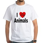I Love Animals (Front) White T-Shirt